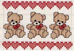 Teddy Bear, Valentine's Day Crossstich: