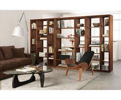 Room divider for basement guest room/hangout lounge. Woodwind 72h Open Back Bookcases - Bookcases & Shelves - Office - Room & Board