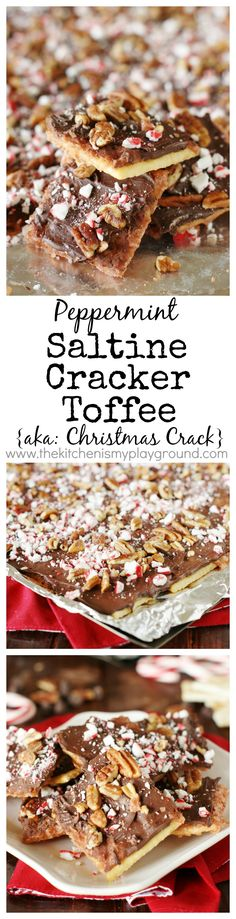 Peppermint Saltine Cracker Toffee  {aka ~ Peppermint Christmas Crack} - peppermint lovers, add this one to your Christmas baking list! (sponsored)  www.thekitchenismyplayground.com