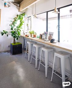 The Space Encounters office showcases consistent branding, a refined take on mid-century design through finishes and furniture, and thoughtful details. Cool Office, Mid Century Design, Manila, Offices, My Design, Cool Stuff, Space, Furniture, Floor Space