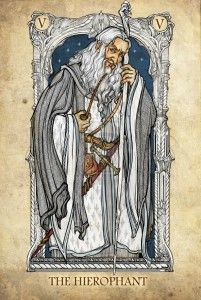 Tarot: The Hierophant by ~SceithAilm. A set of Tolkien-themed Tarot cards. Jrr Tolkien, Tolkien Quotes, Art Carte, The Hierophant, O Hobbit, Legolas, Major Arcana, Tarot Decks, Middle Earth