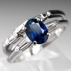 1 Carat Oval Sapphire Engagement Ring Wedding Set 14K White Gold