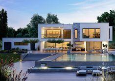 home theater planejado luxo ArteA - die moderne Kunst des Wohnens. Luxus-Bauhaus als Flachdach mit Pool fr die ganze Familie.