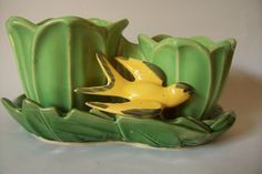 McCOY double GREEN & YELLOW TULIP VINTAGE PLANTER with underplate swallow BIRD