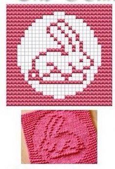 Rabbit Knit Dish cloths Pattern