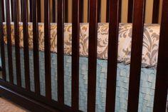 Items similar to Tiffany Ruffle and White Gray Damask Crib Bedding Ensemble on Etsy Crib Skirts, Crib Bedding, Damask, Cribs, Tiffany, Toddler Bed, Ship, Gray, Handmade Gifts