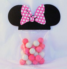 Minnie Mouse Favor Party Bags with PINK POLKA DOT
