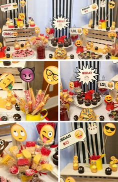 Emoji Party Inspirations - Birthday Party Ideas for Kids and Adults Baby Boy 1st Birthday, Adult Birthday Party, Birthday Party Decorations, Emoji Theme Party, Instagram Party, Party Activities, Party Ideas, Party Fun, Free