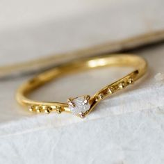 Modern Minimalistic Engagement Ring, 18k Solid Gold Ring, Rough Cut Diamond Ring