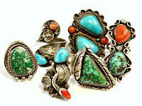 6 Native American Sterling Silver With Turquoise & Coral Large Rings.