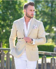 Men's Suits, Cool Suits, Dapper Gentleman, Dapper Men, Tan Blazer Outfits, Style Brut, Style Costume Homme, Summer Jacket, Mens Fashion Suits