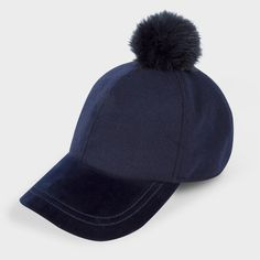 Paul Smith Women's Navy Wool And Velour Bobble Cap (€155) ❤ liked on Polyvore featuring accessories, hats, navy, paul smith, velour hat, navy blue baseball cap, wool baseball hat and navy wool hat