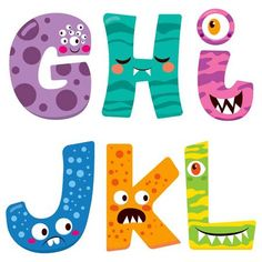 Cute Halloween alphabet with funny g h i j k l monster characters - stock vector Halloween Mignon, Cute Halloween, Alphabet Templates, Alphabet Art, Chalkboard Doodles, Troll Party, Monster Characters, Cute Monsters, Monster Party