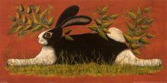 Red Folk Bunny  I love folk art.