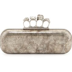Alexander McQueen Tarnish Napa Long Knuckle Box Clutch Bag, Silver (133,335 INR) ❤ liked on Polyvore featuring bags, handbags, clutches, alexander mcqueen, clutches / wallets / purses, floral clutches, brass knuckle purse, silver metallic handbags, brown handbags and metallic clutches