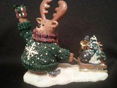 Mother Brown's Caboose Moose Christmas Figurine #moose #Christmas