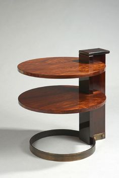 Art Deco Rosewood, Walnut, and Brass Double Circular Top Side Table (c.1927) by André Sornay, France