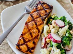 Grilled Salmon With Maple-Sriracha-Lime Glaze... need to change the maple to honey, and use my Sriracha Honey Lime glaze, with brussels sprouts.on the side.