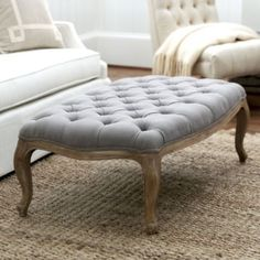 Clervaux Tufted Ottoman | Ballard Designs - piano room?