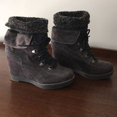 """Shoes by Shi Gray ankle boots by Shi 4"""" wedge heel. Size 9. Worn twice. Shi  Shoes Ankle Boots & Booties"""