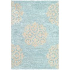 Alcott Hill Backstrom Hand-Tufted Turquoise / Yellow Area Rug Rug Size: Square 4'
