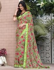 Buy sarees online from among a variety of latest designer sarees. Grab this faux georgette multi colour printed saree. Floral Print Sarees, Printed Sarees, Indian Designer Sarees, Latest Designer Sarees, Art Silk Sarees, Georgette Sarees, Women Clothing Stores Online, Saree Draping Styles, Stylish Sarees
