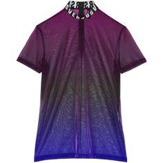 Versus Versace Metallic Sheer Logo T-Shirt ($315) ❤ liked on Polyvore featuring tops, t-shirts, burgundy, see through tops, purple top, metallic t shirt, burgundy t shirt and logo t shirts