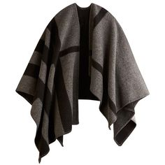 Burberry Check Wool and Cashmere Blanket Poncho (35 580 UAH) ❤ liked on Polyvore featuring outerwear, coats, burberry, jackets, poncho, cashmere poncho, wool poncho, black wool poncho et burberry poncho