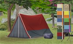 Sim's Travel Tent + Bag from IP (requires Bon Voyage) The Sims 2, Sims Four, Sims Cc, Sims Castaway, Sims 4 Pets, Three Lakes, The Sims 4 Download, Sims 4 Build, Outdoor Plants