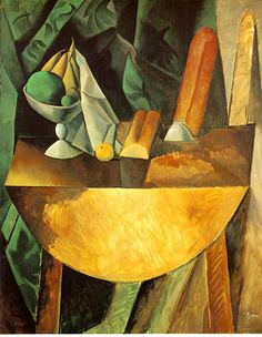 Pablo Picasso Bread and dish with fruits on the table. 1909