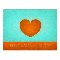 Happy day of San Valentin. Postal Heart Orange Postcard - tap to personalize and get yours