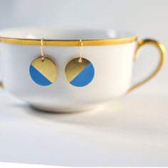 Sky Blue and Gold Half Moon Hanging Earrings / by GracefulHunter, $14.00