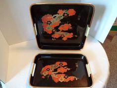 Vintage Black Lacquer Set of Two Orange Gold Floral Pattern Trays | Floor2atBreck - Kitchen & Serving on ArtFire