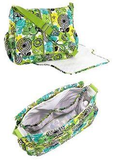 Vera Bradley Lime's Up Messenger Baby Bag