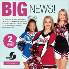 BIG news! We now have our own line of cheerleading uniforms!  #SoffeCheerUniforms