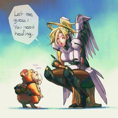 Overwatch mercy and Hammond Overwatch Hanzo, Overwatch Comic, Overwatch Memes, Overwatch Fan Art, Overwatch Drawings, Dark Souls, Team Fortress, Paladin, Funny Games