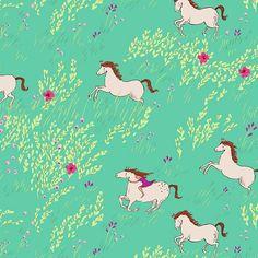 Sarah Jane, Wee Wander - Summer Ride, Seafoam | Lola Pink Fabrics