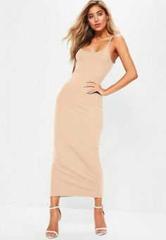 fade3badf3 Missguided Nude Ribbed Strappy Midi Dress Missguided Outfit, Missguided  Swimwear, Strappy Maxi Dress,