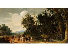 HÖFISCHE JAGDGESELLSCHAFT ZU PFERDE AM FELDRAND Öl auf Holz. 41 x 77 cm. Betont breitformatiges Gemälde, das in der rechten Bildhälfte detailliert die...