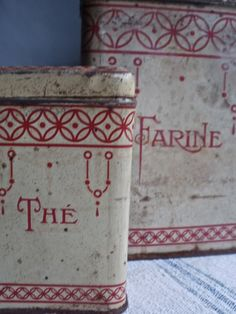 2 pc Vintage French Tins Canisters Rustic French Kitchen Old Rusty Home Decor Red & Cream Vintage Tins, Vintage Love, Vintage Kitchen, Etsy Vintage, French Vintage, Vintage Antiques, French Kitchen, Rustic French, French Country Cottage