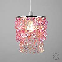 Beautiful Pretty Pink Acrylic Love Heart Beads Ceiling Pendant Children's Light Shade Ceiling Light Shades, Ceiling Lights, Different Light Bulbs, Chandelier Bedroom, Table Lamp Shades, Pink Acrylics, Ceiling Pendant, Lamp Bases, Pretty In Pink