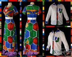 Custom printed Ndebele empire fit, long dress with a white underbust belt with men's matching shirt. African Wear, African Fashion, Mother Daughter Outfits, Matching Shirts, Traditional Outfits, Dress Making, Ideias Fashion, Formal Dresses, Womens Fashion
