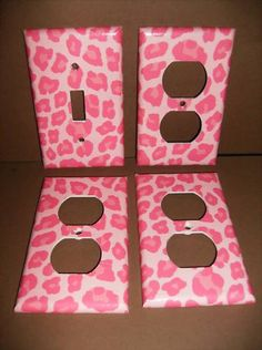 Pink Leopard Single Light Switch Plate Cover Set. $13.00, via Etsy.