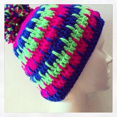 Zelfontworpen muts, gehaakt met Garen Neon Sport van Lana Grossa...het patroon vind je op www.ritsin.nl/blog.php/article/26#.UlLWp40ayc0 #haken #crochet #muts