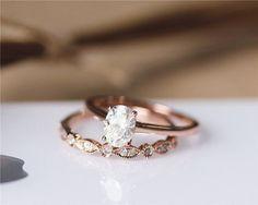 1ct Oval Cut Brilliant Moissanite Engagement Ring Set Solid 14K Rose Gold…