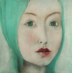 Buy Smaragd, a Chalk on Canvas by c o r i n n a w a g n e r from Germany. It portrays: Portrait, relevant to: painting, portrait, woman, canvas, for sale, face chalk, gesso on stretched canvas, the surface is varnished in a matt finish. 50x50x1.5 cm the work is signed on the back, and a certificate of authenticity is added. © 2016