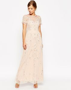 ASOS SALON Beaded Floral Mesh Maxi Dress
