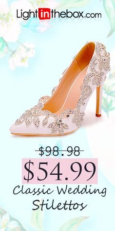 09615b98f46d Women s PU(Polyurethane) Spring   Fall Classic Wedding Shoes Stiletto Heel  Pointed Toe Rhinestone   Sparkling Glitter White