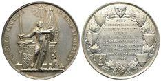 AR-Medaille 1853 von J. B. Ferner. Auf die 500 Jahrfeier der Aufnahme Berns in den Schweizerbund Bern, Personalized Items, Crests, Knight, Switzerland