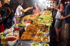 An assortment of delicious street food at the Chiang Mai Night Market.